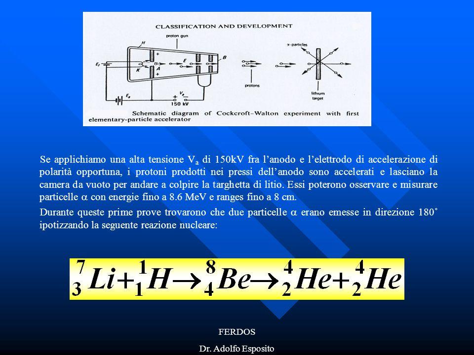 Se applichiamo una alta tensione Va di 150kV fra l'anodo e l'elettrodo di accelerazione di polarità opportuna, i protoni prodotti nei pressi dell'anodo sono accelerati e lasciano la camera da vuoto per andare a colpire la targhetta di litio. Essi poterono osservare e misurare particelle  con energie fino a 8.6 MeV e ranges fino a 8 cm.