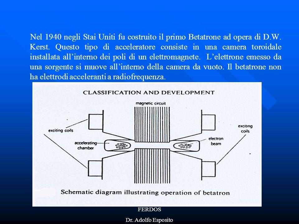 Nel 1940 negli Stai Uniti fu costruito il primo Betatrone ad opera di D.W. Kerst. Questo tipo di acceleratore consiste in una camera toroidale installata all'interno dei poli di un elettromagnete. L'elettrone emesso da una sorgente si muove all'interno della camera da vuoto. Il betatrone non ha elettrodi acceleranti a radiofrequenza.