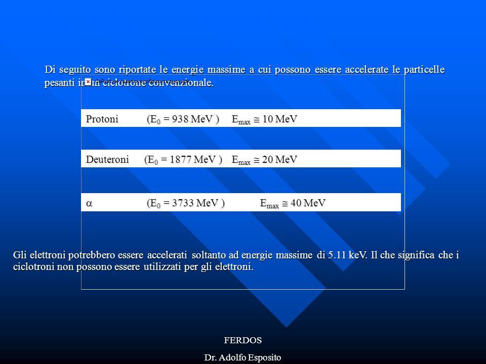 Protoni (E0 = 938 MeV ) Emax  10 MeV