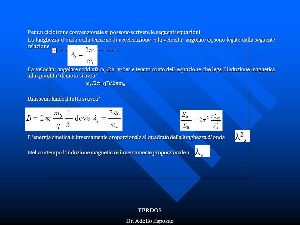Per un ciclotrone convenzionale si possono scrivere le seguenti equazioni