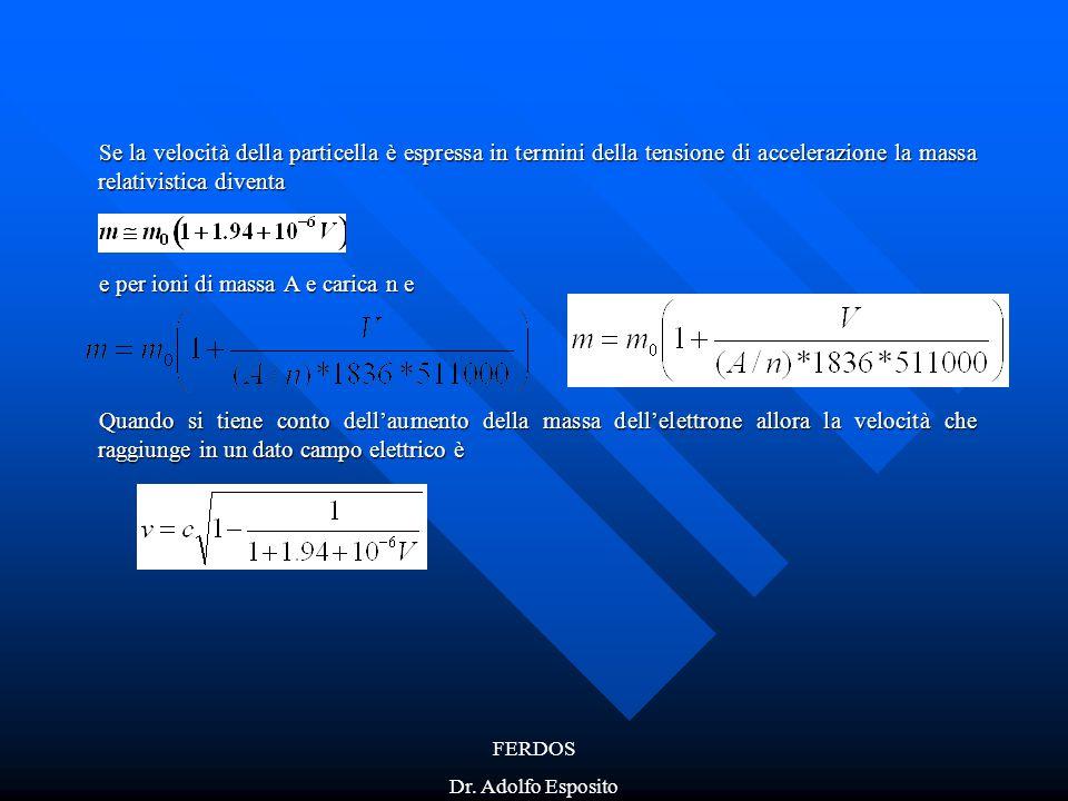 e per ioni di massa A e carica n e