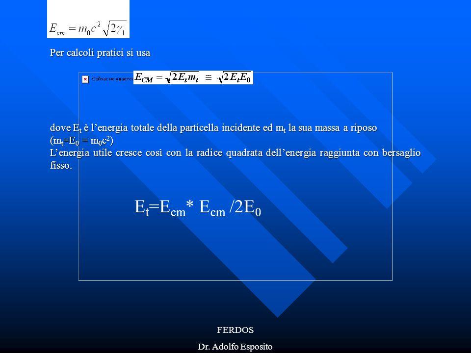 Et=Ecm* Ecm /2E0 Per calcoli pratici si usa