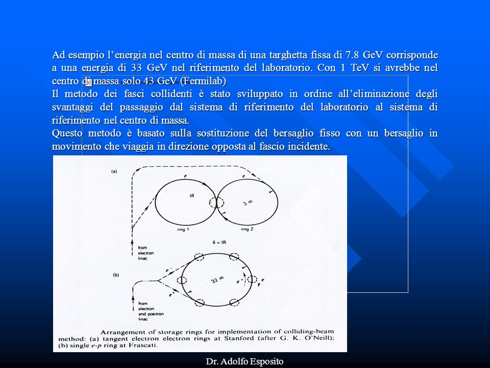 Ad esempio l'energia nel centro di massa di una targhetta fissa di 7