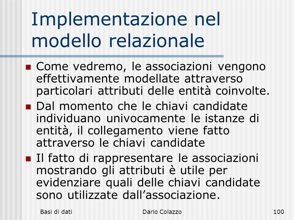 Implementazione nel modello relazionale