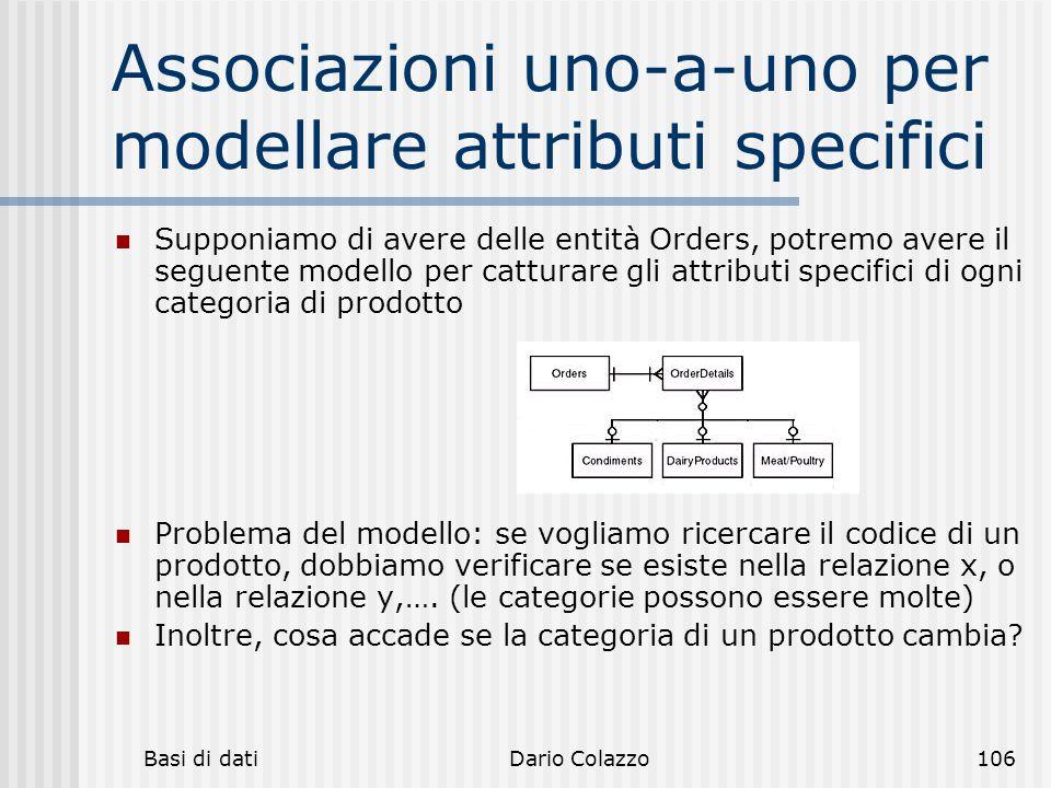 Associazioni uno-a-uno per modellare attributi specifici