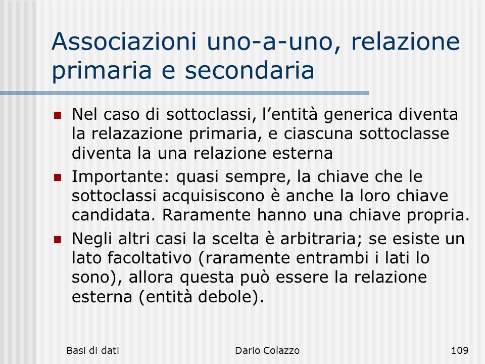 Associazioni uno-a-uno, relazione primaria e secondaria