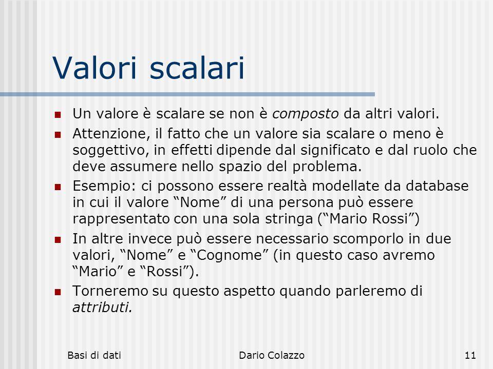 Valori scalari Un valore è scalare se non è composto da altri valori.