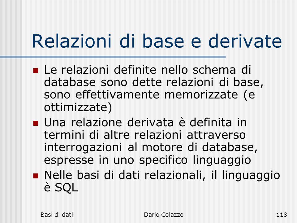 Relazioni di base e derivate