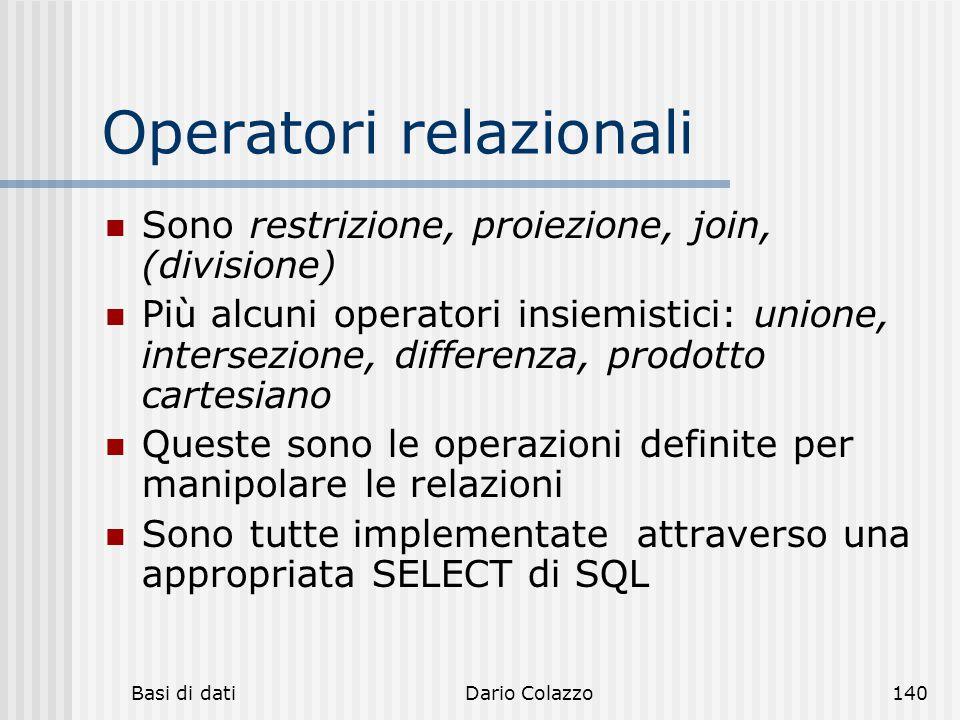 Operatori relazionali