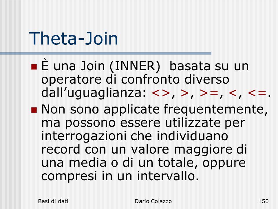 Theta-Join È una Join (INNER) basata su un operatore di confronto diverso dall'uguaglianza: <>, >, >=, <, <=.