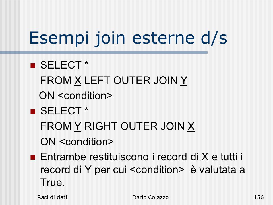 Esempi join esterne d/s