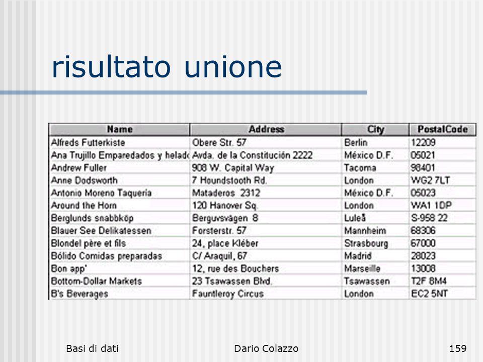 risultato unione Basi di dati Dario Colazzo