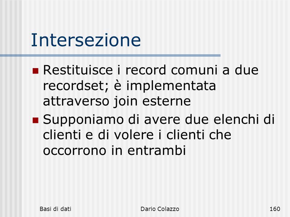 Intersezione Restituisce i record comuni a due recordset; è implementata attraverso join esterne.