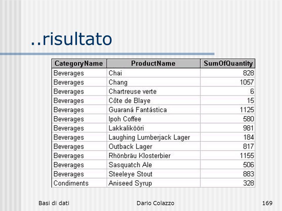 ..risultato Basi di dati Dario Colazzo