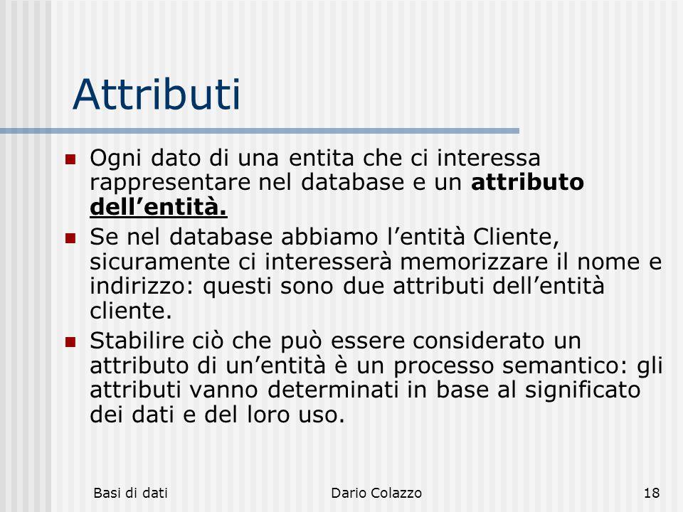 Attributi Ogni dato di una entita che ci interessa rappresentare nel database e un attributo dell'entità.