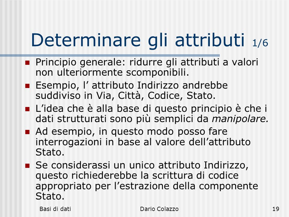 Determinare gli attributi 1/6