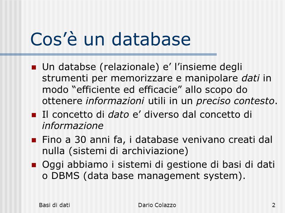 hh hhh. Cos'è un database.