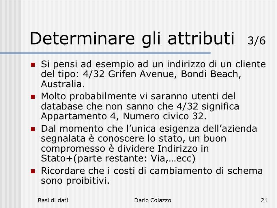 Determinare gli attributi 3/6