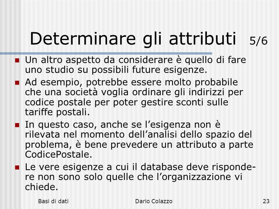 Determinare gli attributi 5/6