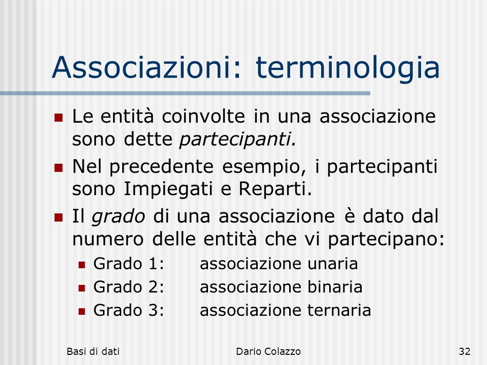 Associazioni: terminologia