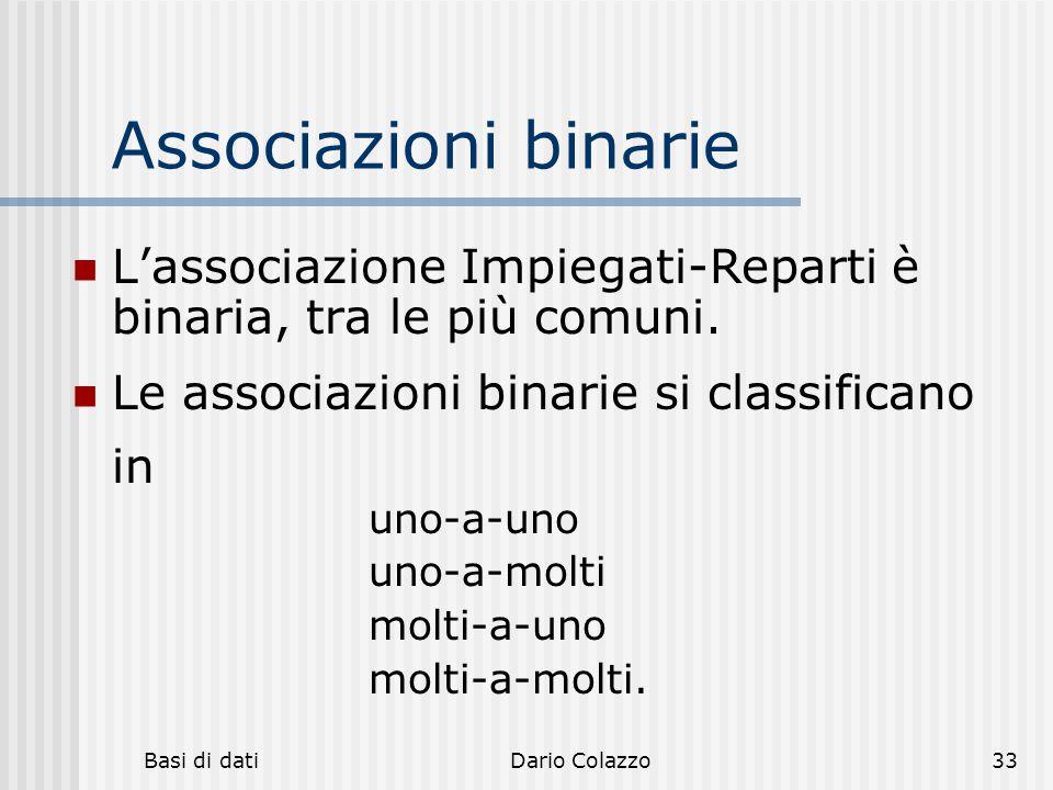 hh hhh. Associazioni binarie. L'associazione Impiegati-Reparti è binaria, tra le più comuni. Le associazioni binarie si classificano in.