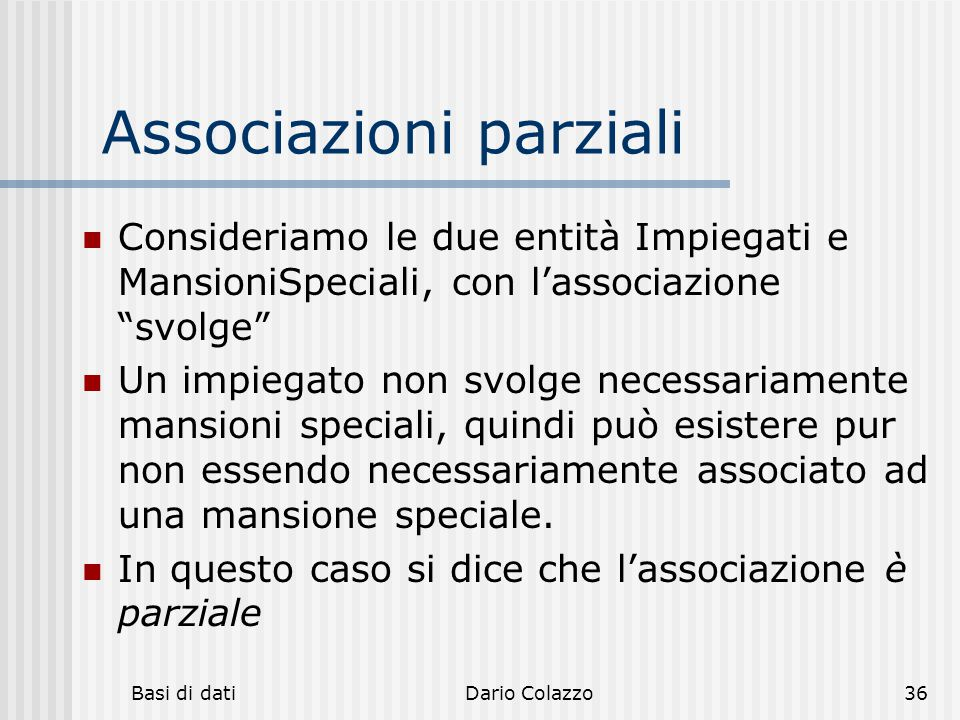 Associazioni parziali