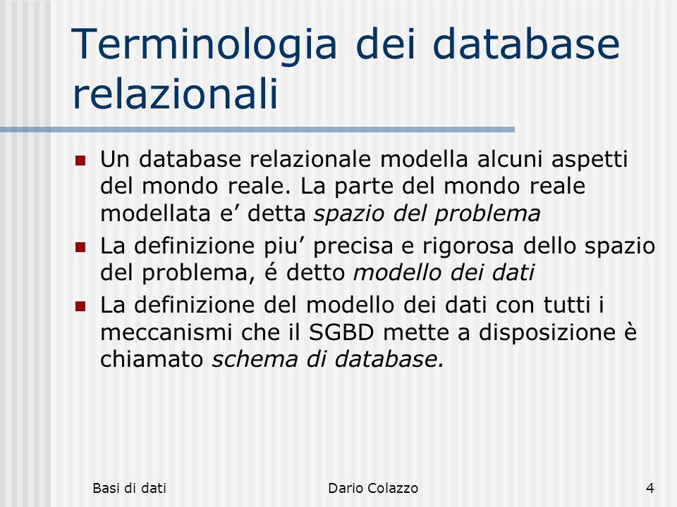 Terminologia dei database relazionali