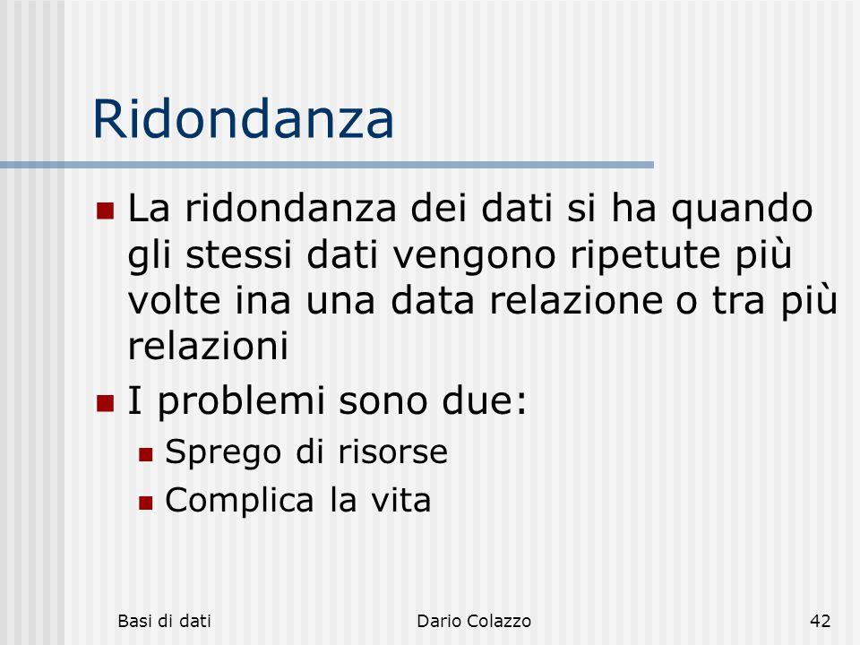 Ridondanza La ridondanza dei dati si ha quando gli stessi dati vengono ripetute più volte ina una data relazione o tra più relazioni.
