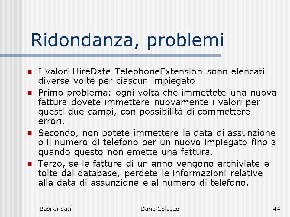 hh hhh. Ridondanza, problemi. I valori HireDate TelephoneExtension sono elencati diverse volte per ciascun impiegato.