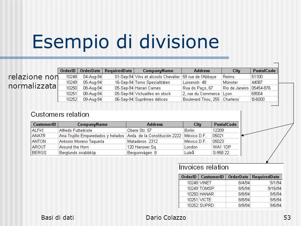 Esempio di divisione relazione non normalizzata Basi di dati