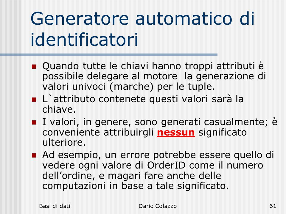 Generatore automatico di identificatori