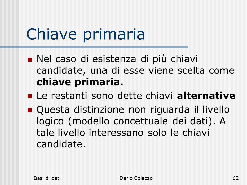 Chiave primaria Nel caso di esistenza di più chiavi candidate, una di esse viene scelta come chiave primaria.