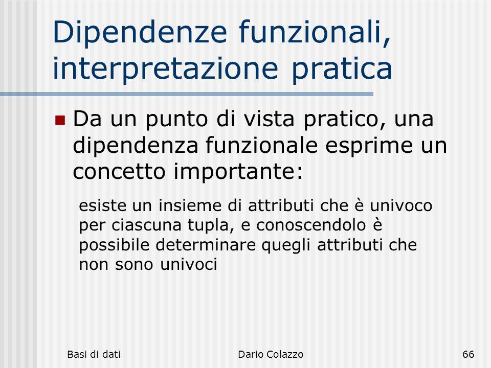 Dipendenze funzionali, interpretazione pratica
