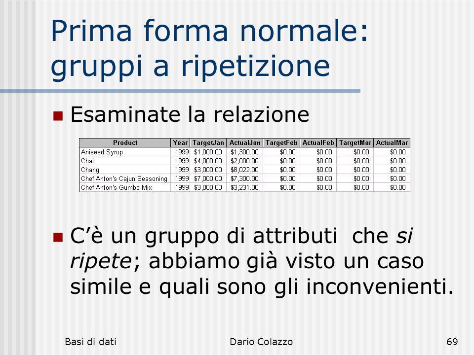 Prima forma normale: gruppi a ripetizione
