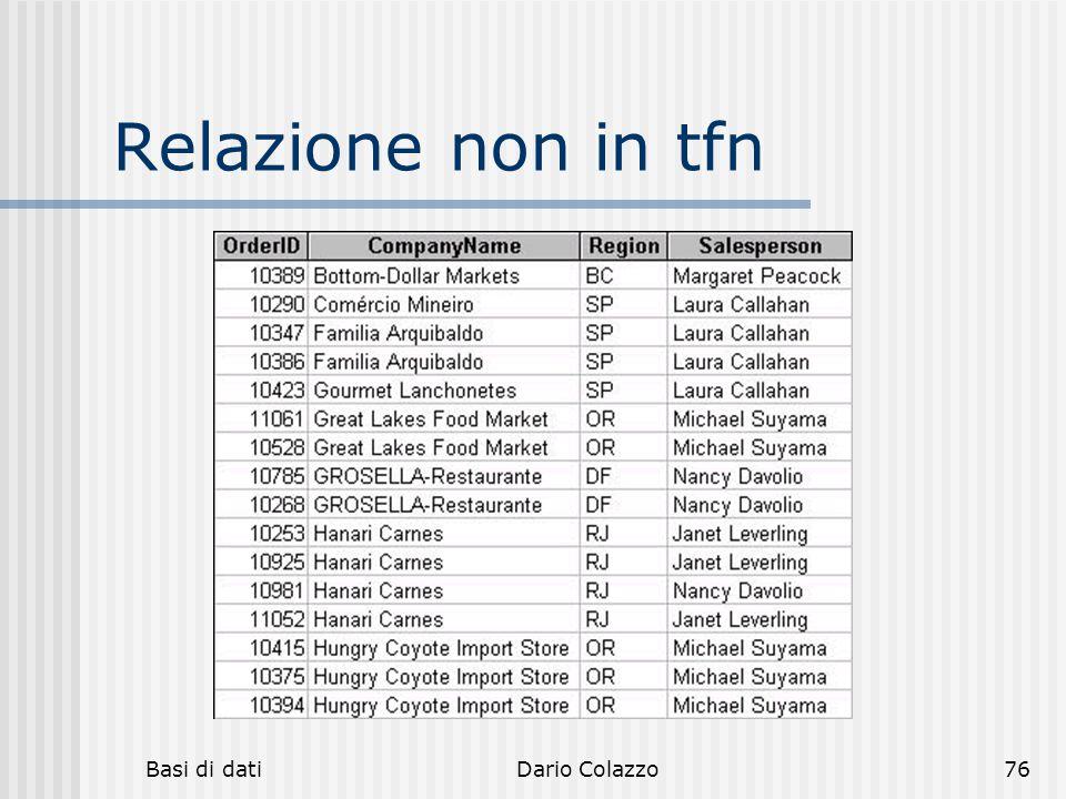 Relazione non in tfn Basi di dati Dario Colazzo