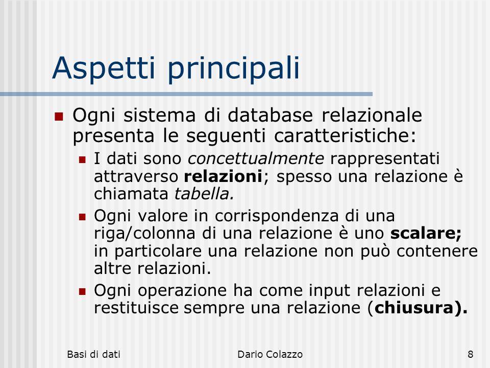 hh hhh. Aspetti principali. Ogni sistema di database relazionale presenta le seguenti caratteristiche: