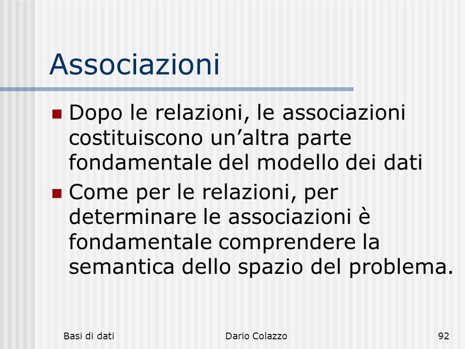 Associazioni Dopo le relazioni, le associazioni costituiscono un'altra parte fondamentale del modello dei dati.
