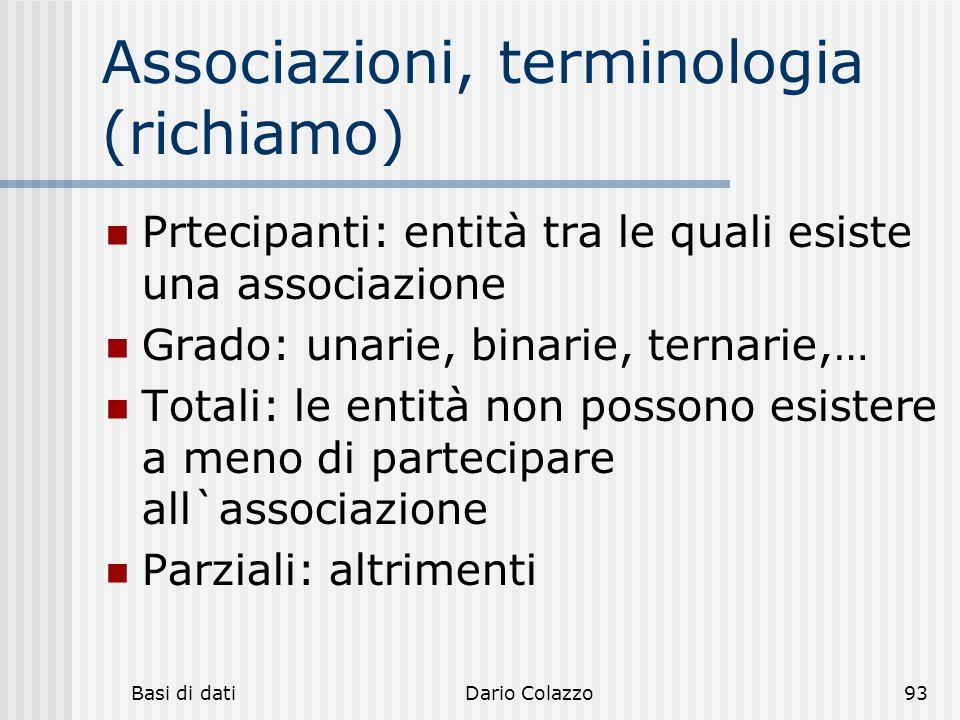 Associazioni, terminologia (richiamo)