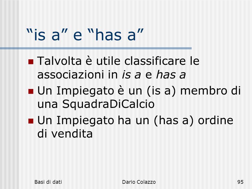 is a e has a Talvolta è utile classificare le associazioni in is a e has a. Un Impiegato è un (is a) membro di una SquadraDiCalcio.
