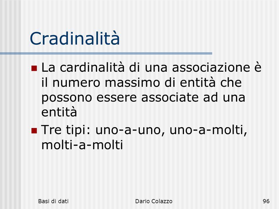 Cradinalità La cardinalità di una associazione è il numero massimo di entità che possono essere associate ad una entità.