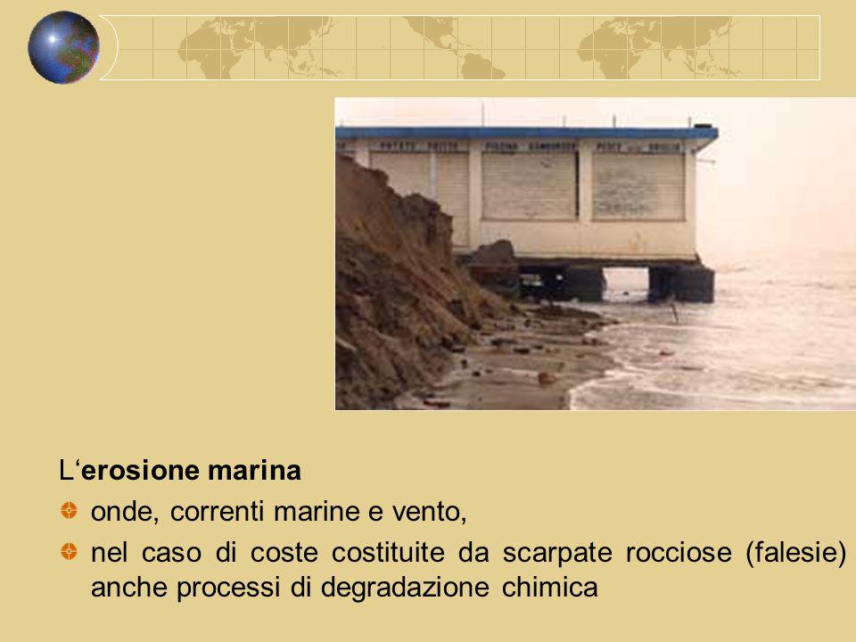 L'erosione marina onde, correnti marine e vento, nel caso di coste costituite da scarpate rocciose (falesie) anche processi di degradazione chimica.