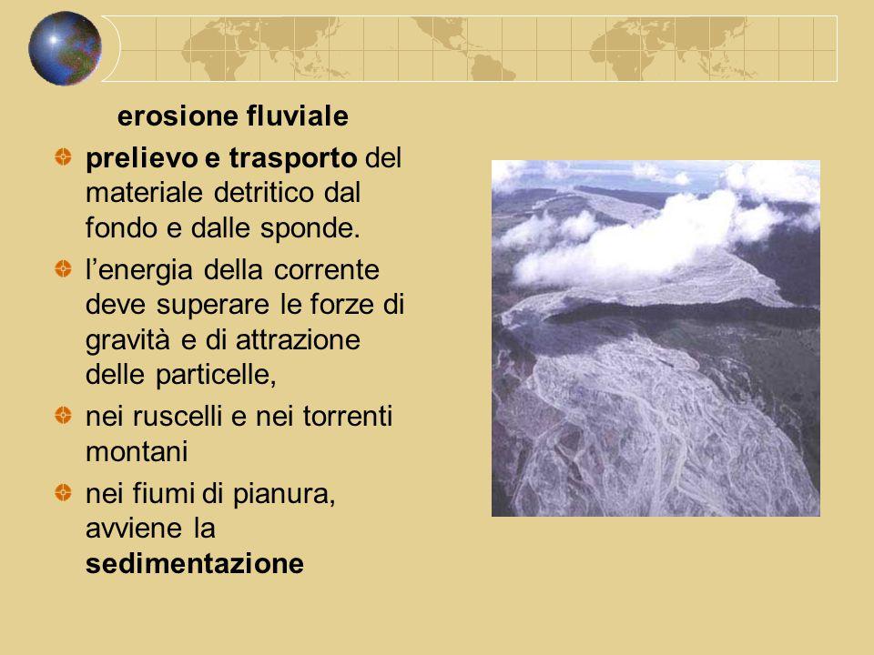 erosione fluviale prelievo e trasporto del materiale detritico dal fondo e dalle sponde.