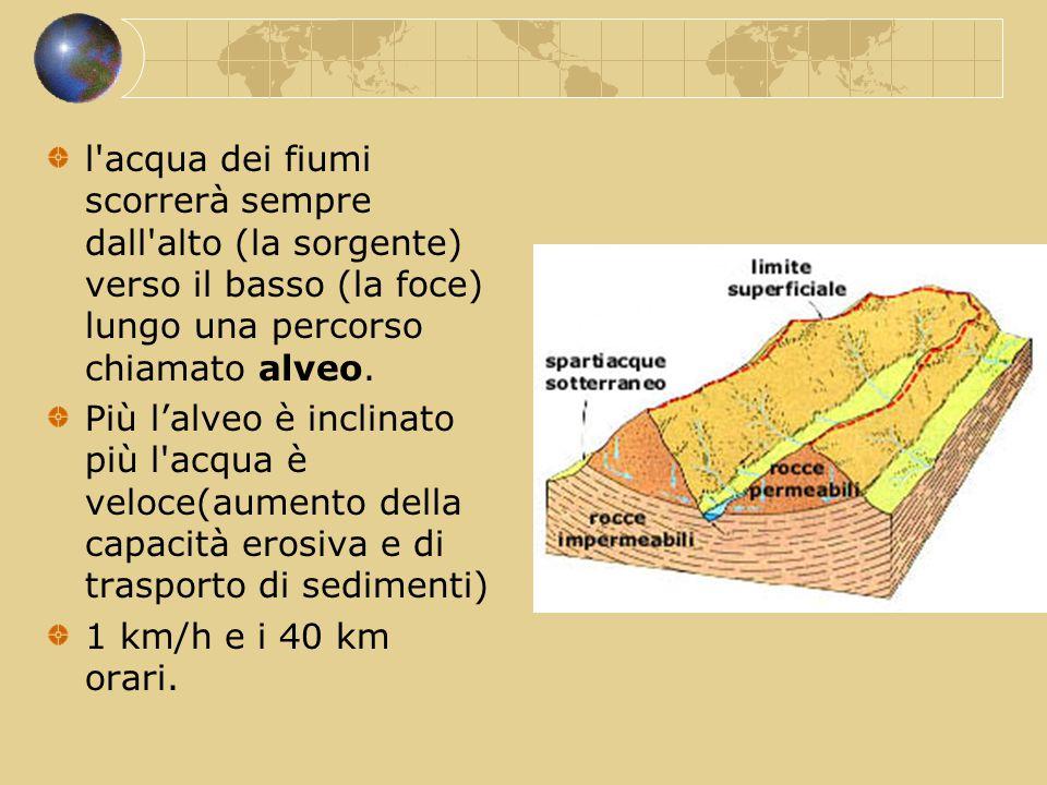 l acqua dei fiumi scorrerà sempre dall alto (la sorgente) verso il basso (la foce) lungo una percorso chiamato alveo.