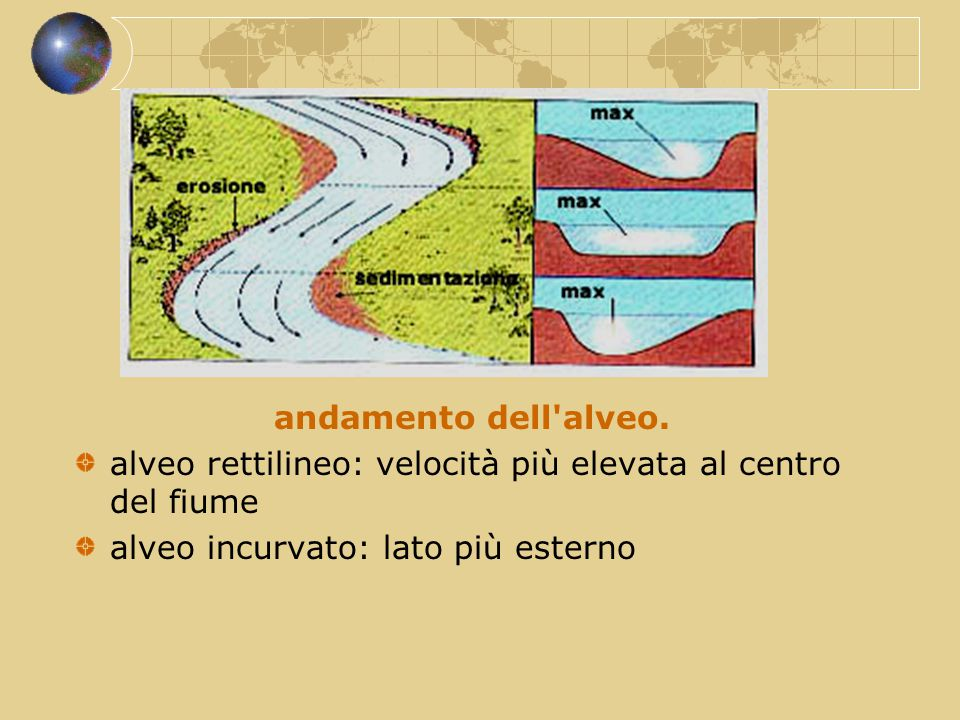 andamento dell alveo. alveo rettilineo: velocità più elevata al centro del fiume.