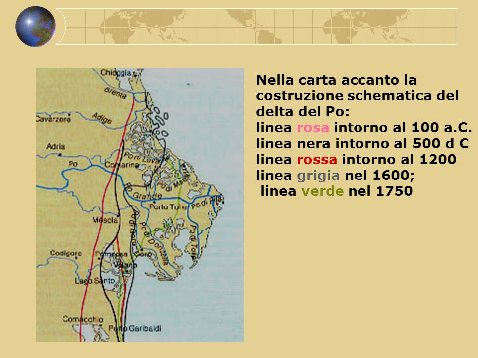 Nella carta accanto la costruzione schematica del delta del Po:
