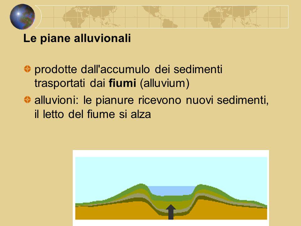 Le piane alluvionali prodotte dall accumulo dei sedimenti trasportati dai fiumi (alluvium)