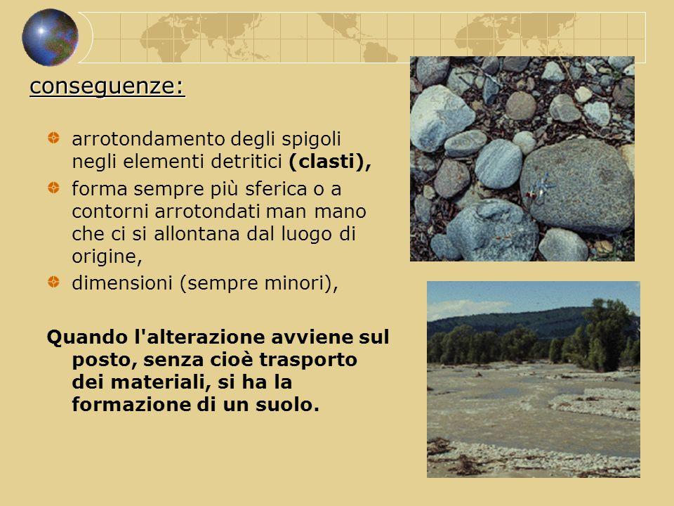 conseguenze: arrotondamento degli spigoli negli elementi detritici (clasti),