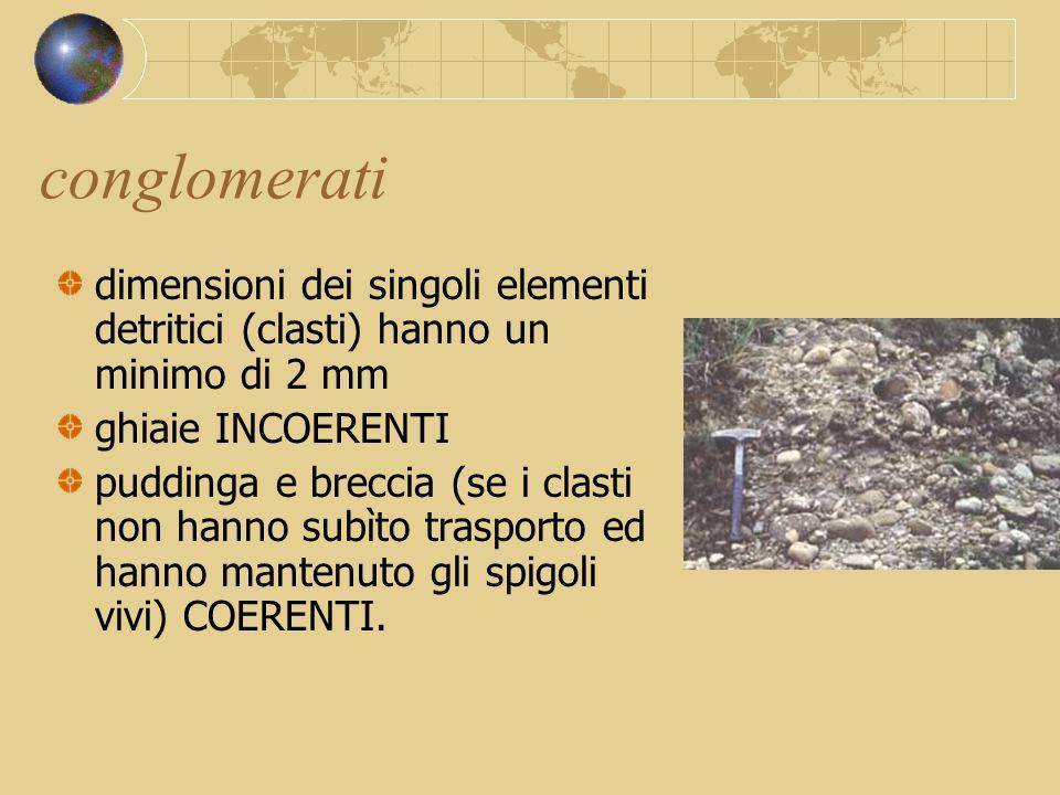 conglomerati dimensioni dei singoli elementi detritici (clasti) hanno un minimo di 2 mm. ghiaie INCOERENTI.