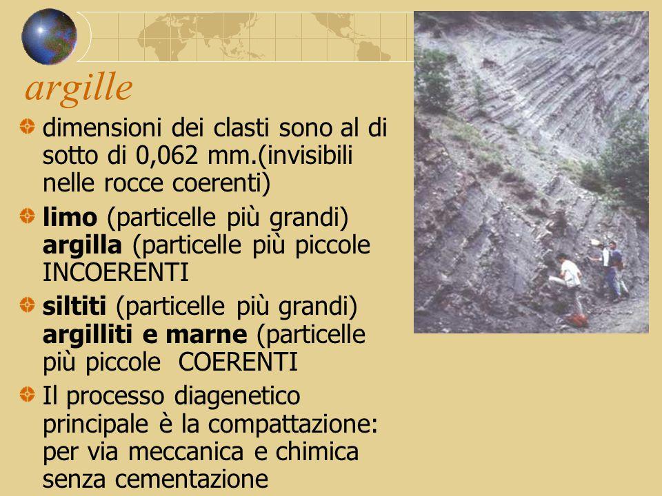 argille dimensioni dei clasti sono al di sotto di 0,062 mm.(invisibili nelle rocce coerenti)