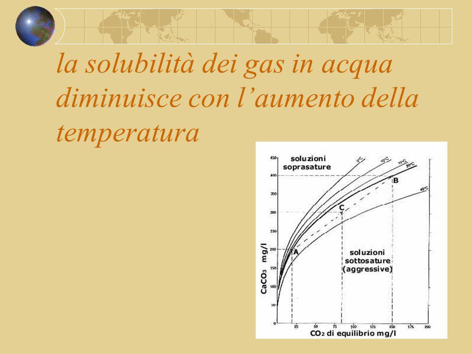 la solubilità dei gas in acqua diminuisce con l'aumento della temperatura